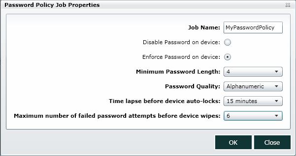 Password Policy job in SureMDM