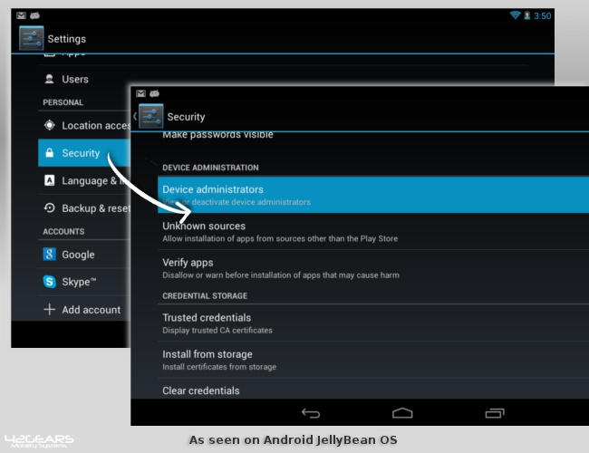"Managing ""Device Administrators"" on Android 4.2 JellyBean"