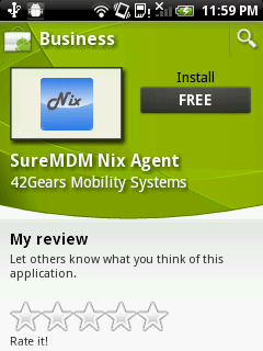 Android marketplace SureMDM Nix Agent page