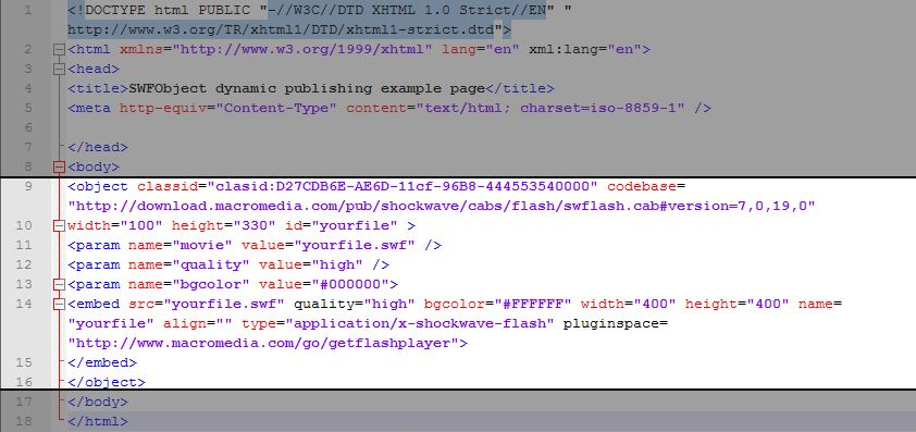 Embedding Flash in html page