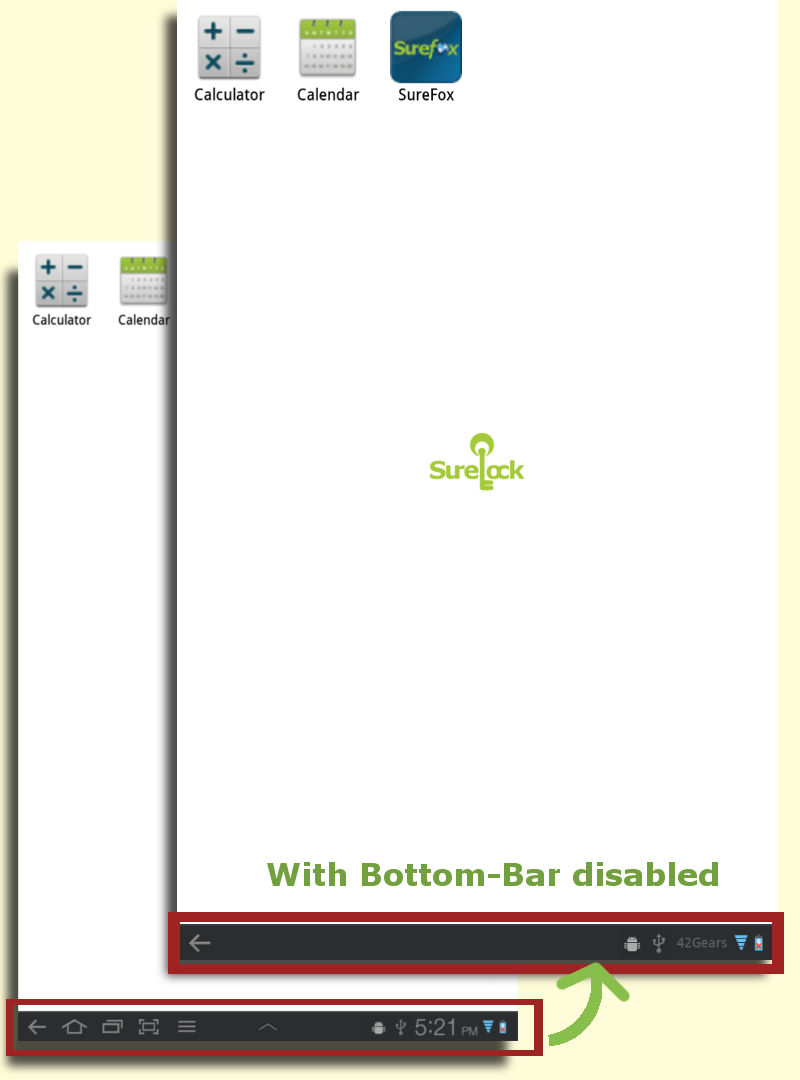 Disable bottom bar in Android phones and tablets with SureLock
