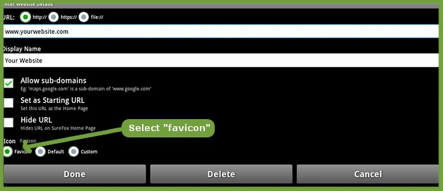 "Selecting ""favicon"" as display icon"