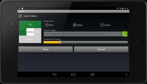toolbar settings