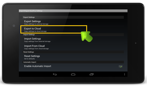 surefox_export_to_cloud_screenshot
