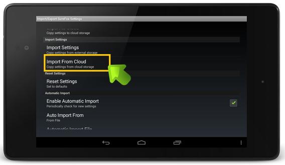 surefox_import_screenshot