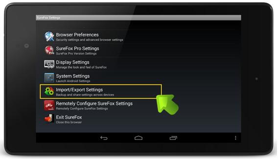 surefox_menu_screenshot