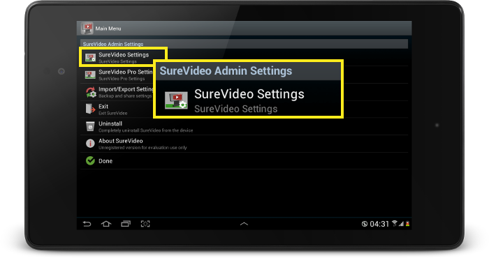 surevideo main settings