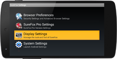 SureFox_Display Settings