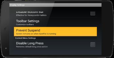 SureFox_Prevent Suspend