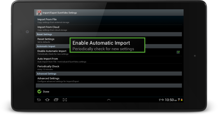 surevideo_enable_automatic_import