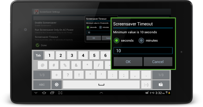 surevideo_screensaver_timeout_settings