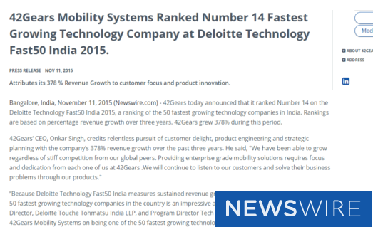 42Gears Mobility Systems Ranked Number 14 Fastest Growing Technology Company at Deloitte Technology Fast50 India 2015 - newswire