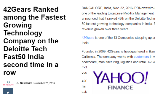42Gears-Yahoo-Finance-Deloitte Tech Fast50 India -Sept-2016
