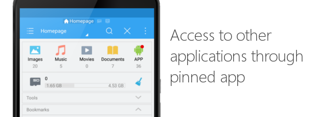 Access to other applications through pinned app