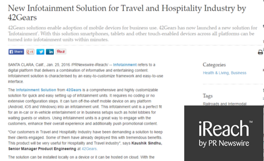 New Infotainment Solution for Travel and Hospitality Industry by 42Gears - ireach