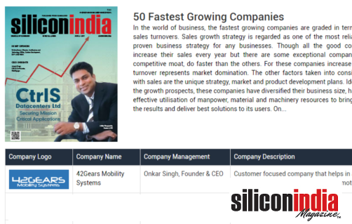 Silicon India - 50 Fastest Growing Company