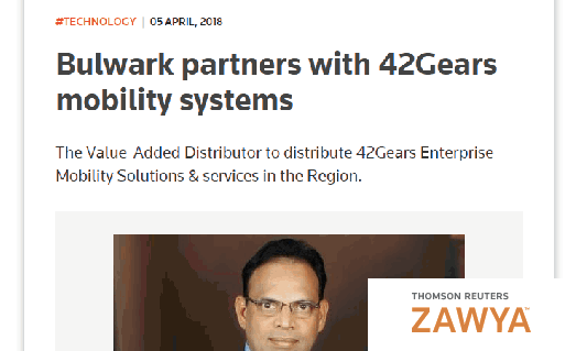 Zawya - Bulwark partners with 42Gears mobility systems
