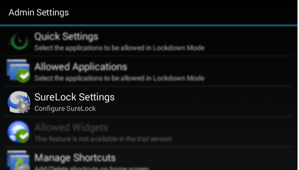 SureLock Settings