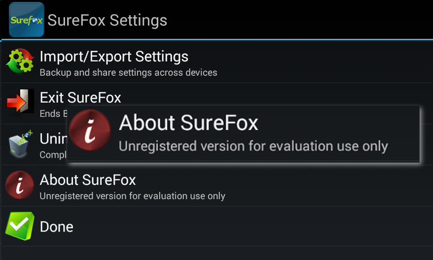 about-surefox-settings