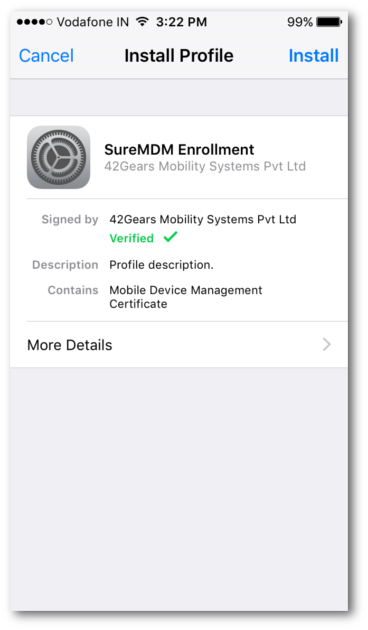 SureMDM - Profile Installed
