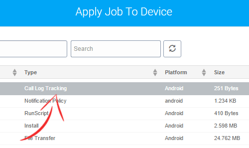 SureMDM - Apply Call Log Job to the Android device