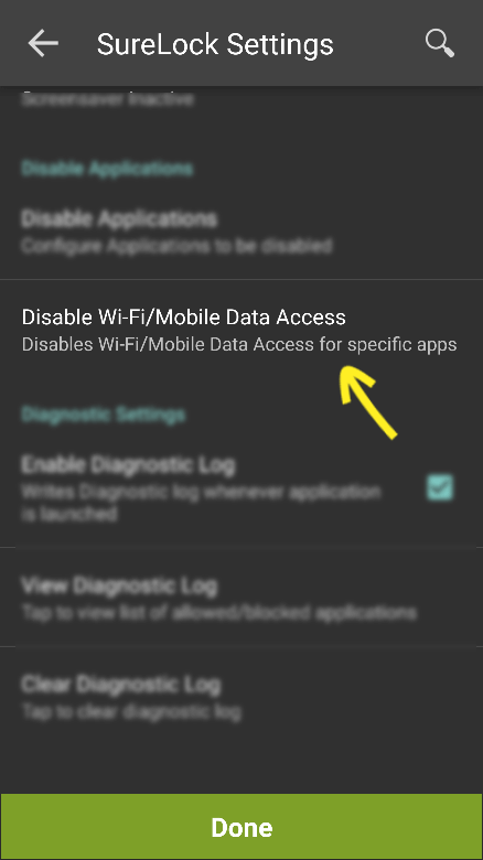 Disable Wi-Fi or Mobile Data Access