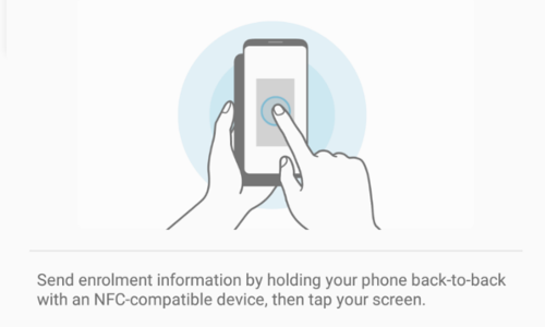 Place a NFC enabled Samsung device next to the configured device for instant enrollment and configuration