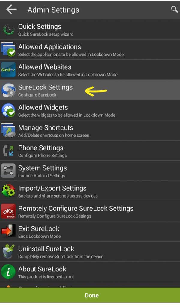 surelock settings