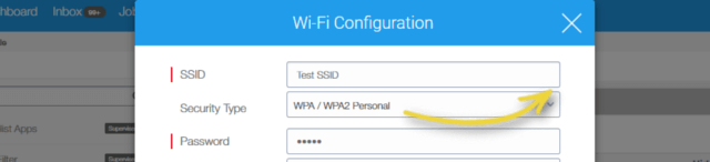 When the Wi-Fi Configuration prompt appears, enter the SSID, select Security Type and Save.
