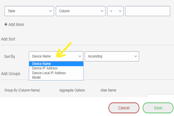 Third-Party App Analytics Reporting in 42Gears UEM - Select the field