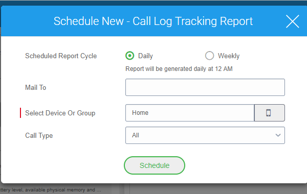 Third-Party App Analytics Reporting in 42Gears UEM - Select Scheduled Report Cycle