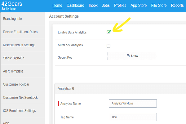 Third-Party App Analytics Reporting in 42Gears UEM - Enable analytics by checking the checkbox for Enable Data Analytics