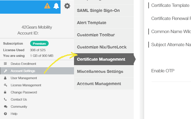 Pushing CA certificates on enterprise devices using 42Gears UEM - Step 1