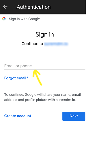 Username and Password to sign in