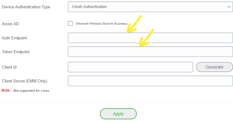 Enter endpoint details
