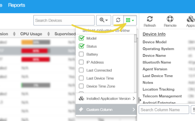 42Gears UEM Custom Columns | Custom values from custom hardware | UEM |
