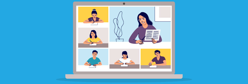 Students and teachers meet virtually for online learning via educational technology - in this case, laptops. This raises issues of remote device management in education, and questions about how technology has changed education, and how important is technology in education.
